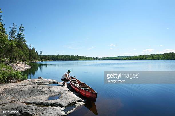 going fishing on a wilderness lake - minnesota bildbanksfoton och bilder