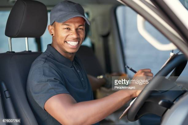 going on his delivery rounds - mini van stock photos and pictures