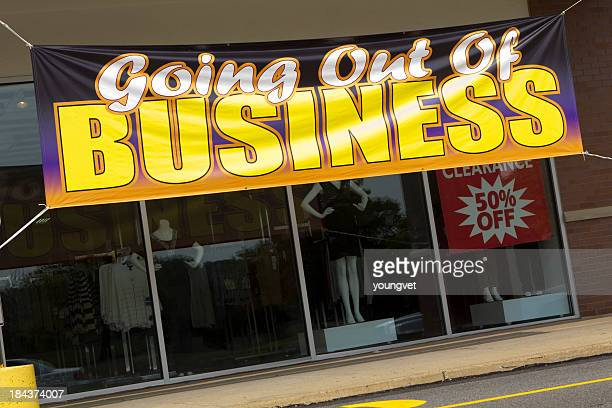 going out of business-espressione - cartello chiuso foto e immagini stock