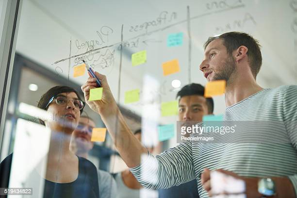 going over the plan - business strategy stock photos and pictures