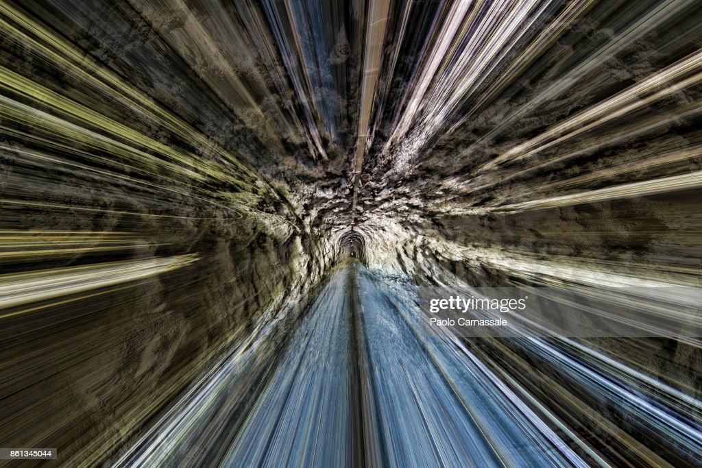 Going Through a cave with high speed : Stock Photo