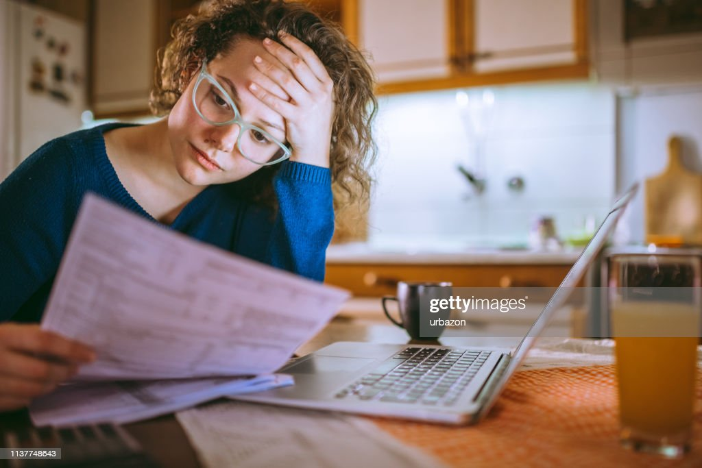 Going through documents : Stock Photo