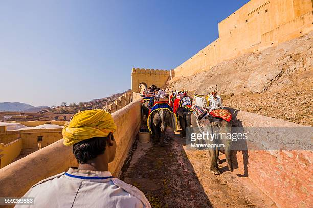 Going to Amber Fort Palace by elephant