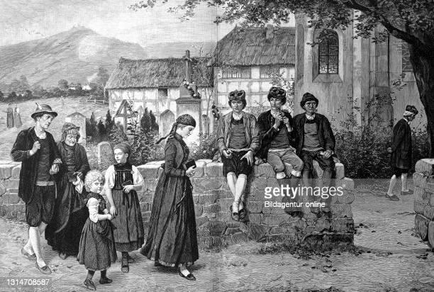 Going to church, family on the way to church, after a painting by Hubert Salentin, 1880 / Kirchgang, Familie auf dem Weg in die Kirche, nach einem...