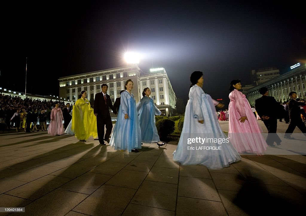 Going To Join The Mass Dancing In Pyongyang, North Korea - : News Photo