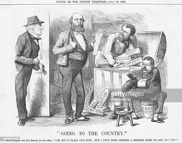 Going to the Country 1885 This cartoon depicts the Liberal's former Prime Minister William Gladstone coming in at the door Inside Lord Salisbury is...