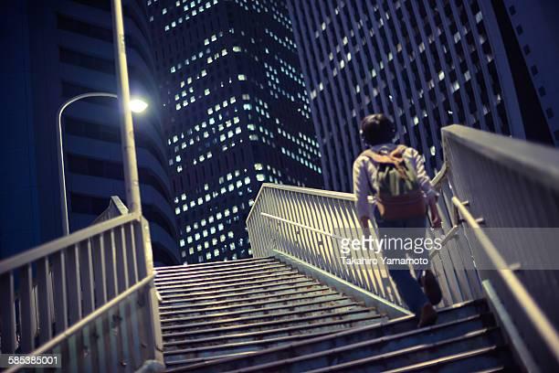 Going up a pedestrian bridge