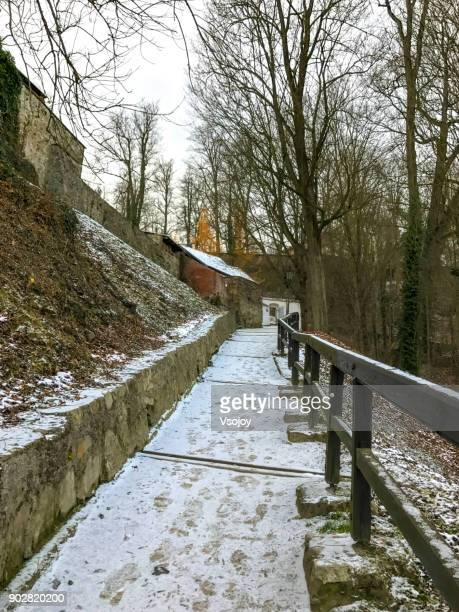 going uphill to the český krumlov castle, czech republic - vsojoy stock pictures, royalty-free photos & images