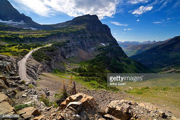 Going-to-the-Sun Road west of Logan Pass, seen from Highline Trail in summer, Glacier National Park, Montana