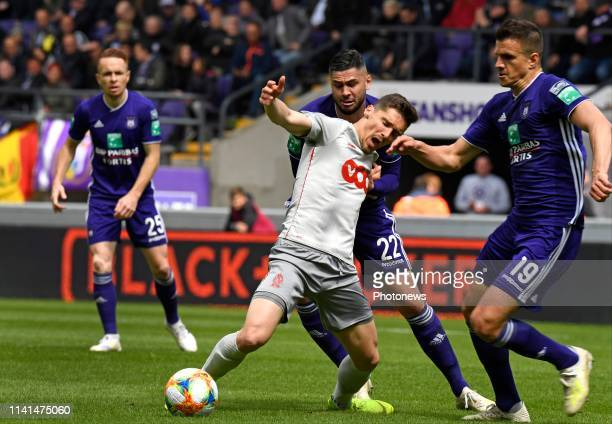 Gojko Cimirot midfielder of Standard Liege and Elias Cobbaut defender of Anderlecht pictured during the Jupiler Pro League match between RSC...