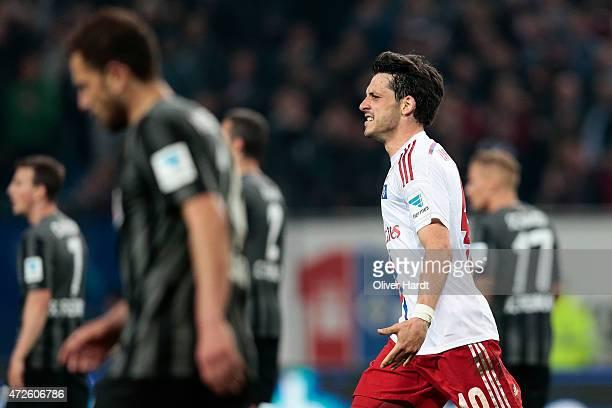 Gojko Kacar celebrates after scoring their first goal of Hamburg during the First Bundesliga match between Hamburger SV and SC Freiburg at Imtech...
