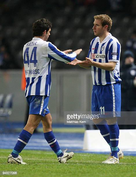 Gojko Kacar of Berlin and team mate Florian Kringe are seen during the UEFA Europa League match between Hertha BSC Berlin and Sporting Lissabon at...