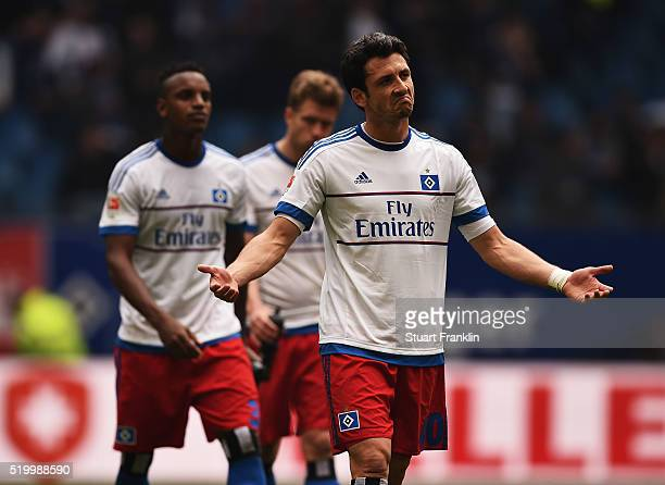 Gojko Kacar of Hamburg looks dejected during the Bundesliga match between Hamburger SV and SV Darmstadt 98 at Volksparkstadion on April 9 2016 in...