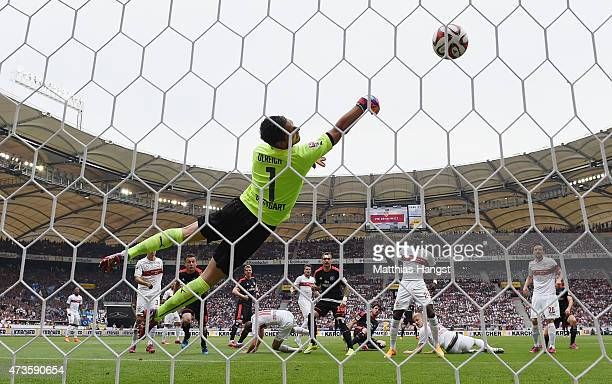 Gojko Kacar of Hamburg scores his team's first goal past goalkeeper Sven Ulreich of Stuttgart during the Bundesliga match between VfB Stuttgart and...