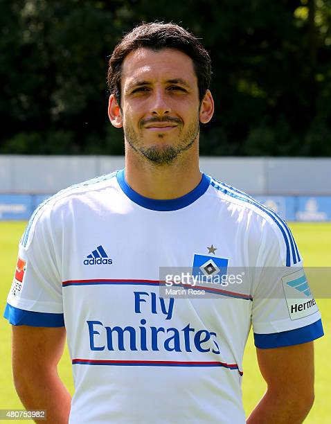 Gojko Kacar of Hamburger SV poses during the team presentation of Hamburger SV at Volksparkstadion on July 15 2015 in Hamburg Germany