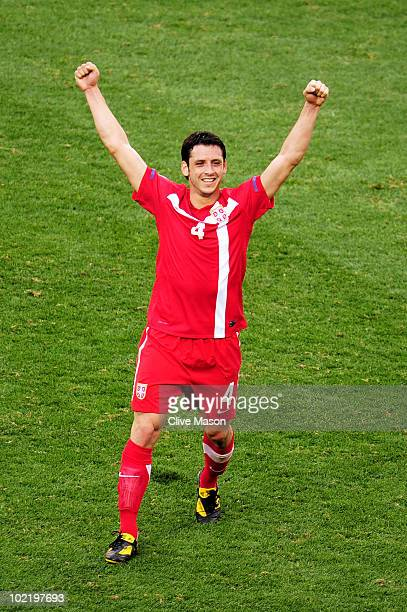 Gojko Kacar of Serbia celebrates victory in the 2010 FIFA World Cup South Africa Group D match between Germany and Serbia at Nelson Mandela Bay...