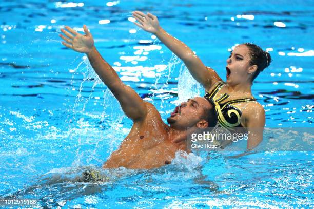 Gokce Akgun and Rezzan Eda Tuncay of Turkey compete in the Duet Free Routine Mixed Final during synchronised swimming on Day six of the European...
