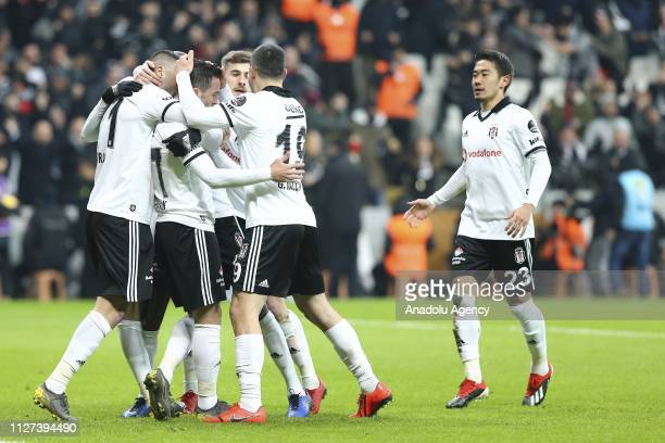 Gokhan Gonul of Besiktas celebrates with his teammates after scoring a goal during Turkish Super Lig soccer match between Fenerbahce and Besiktas at...
