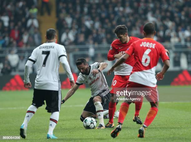 Gokhan Gonul of Besiktas in action against Stevan Jovetic of Monaco during a UEFA Champions League Group G match between Besiktas and Monaco at the...