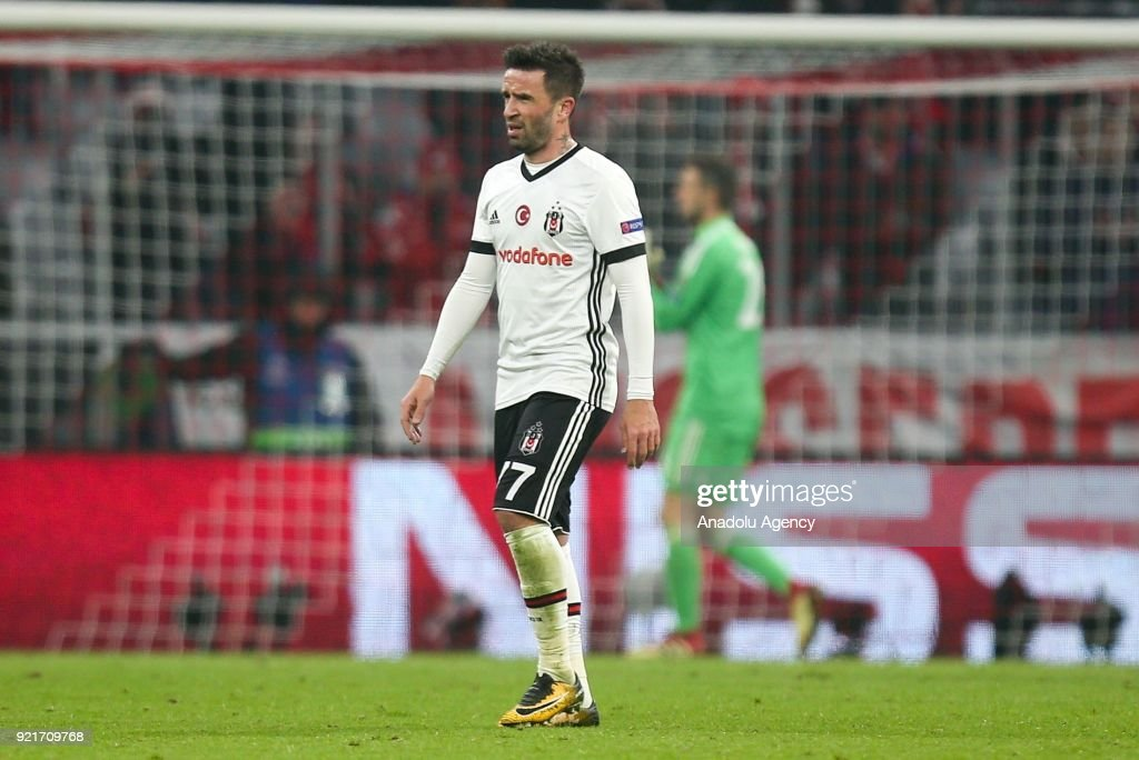 Gokhan Gonul of Besiktas is disappointed at the end of the UEFA Champions League Round of 16 soccer match between FC Bayern Munich and Besiktas at the Allianz Arena in Munich, Germany, on February 20, 2018.