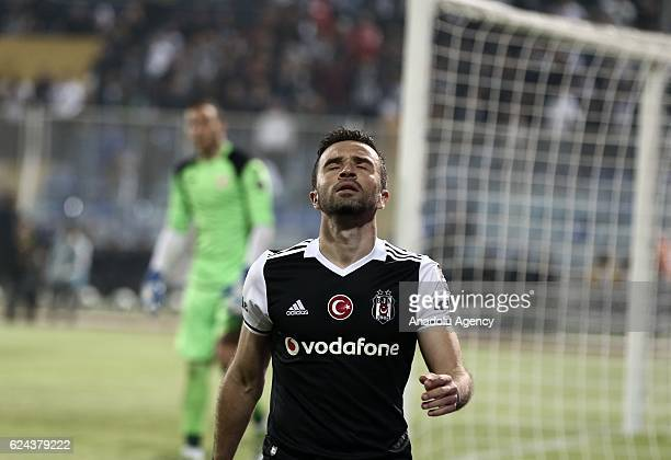 Gokhan Gonul of Besiktas reacts during the Turkish Spor Toto Super Lig match between Adanaspor and Besiktas at Adana 5 Ocak Fatih Terim Stadium in...