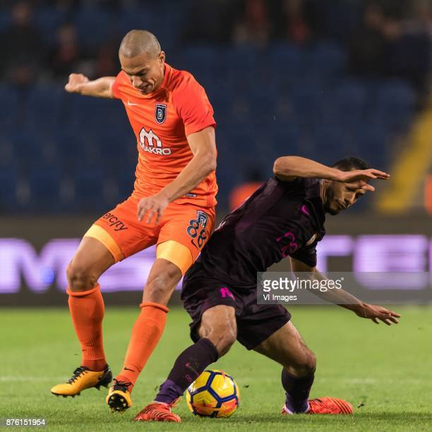 Gokhan Inler of Istanbul Medipol Basaksehir FK Younes Belhanda of Galatasaray SK during the Turkish Spor Toto Super Lig football match between...
