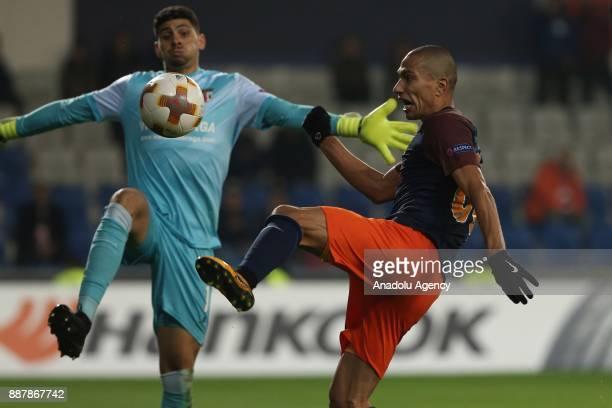 Gokhan Inler of Medipol Basaksehir in action against Matheus of Braga during the UEFA Europa League Group C soccer match between Medipol Basaksehir...