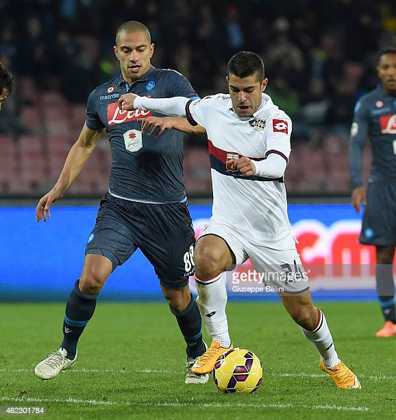 Gokhan Inler of Napoli and Iago Falque of Genoa in action during the Serie A match between SSC Napoli and Genoa CFC at Stadio San Paolo on January 26...