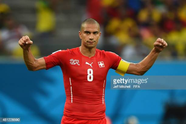 Gokhan Inler of Switzerland celebrates victory after the 2014 FIFA World Cup Brazil Group E match between Honduras and Switzerland at Arena Amazonia...