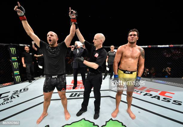Gokhan Saki of Netherlands celebrates his knockout victory over Henrique da Silva of Brazil in their light heavyweight bout during the UFC Fight...