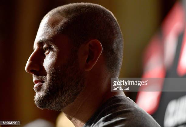 Gokhan Saki of Netherlands interacts with the media during the UFC Ultimate Media Day at the Park Hyatt on September 20, 2017 in Tokyo, Japan.