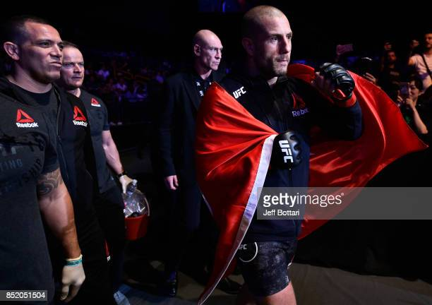 Gokhan Saki of Netherlands prepares to enter the Octagon before facing Henrique da Silva of Brazil in their light heavyweight bout during the UFC...