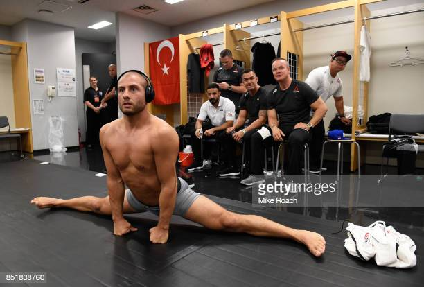 Gokhan Saki of Netherlands warms up backstage during the UFC Fight Night event inside the Saitama Super Arena on September 22, 2017 in Saitama, Japan.