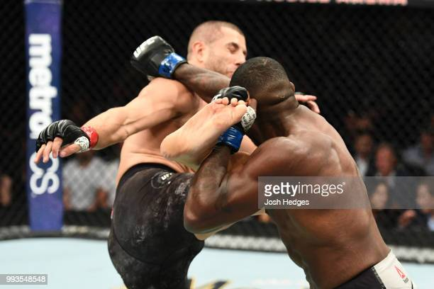 Gokhan Saki of Turkey kicks Khalil Rountree Jr. In their light heavyweight fight during the UFC 226 event inside T-Mobile Arena on July 7, 2018 in...