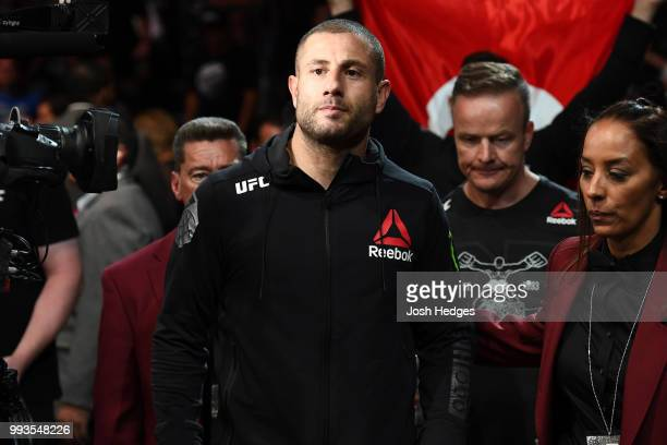 Gokhan Saki of Turkey walks to the Ocatgon to face Khalil Rountree Jr. In their light heavyweight fight during the UFC 226 event inside T-Mobile...