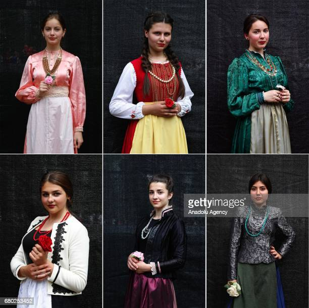Gokoguz Christian Turks, wearing traditional clothes, pose during the Hidirellez celebrations at Stefan Cel Mare Central Park in Gokoguz region of...