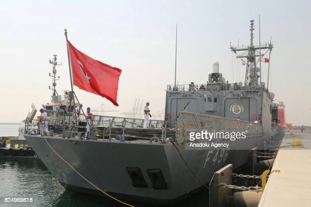 TCG Gokova Frigate which belongs to the Turkish fleet command arrive at the Hamed Port in Doha Qatar on July 31 2017 TCG Gokova Frigate arrived in...