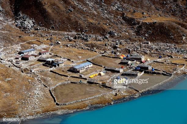 Gokyo lake and camp, Solu Khumbu. Nepal.