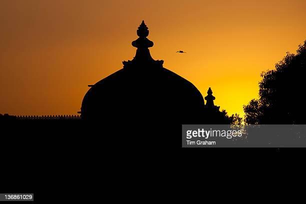 Gol Mahal Raj Angan annexe to The City Palace at sunset in Udaipur Rajasthan India