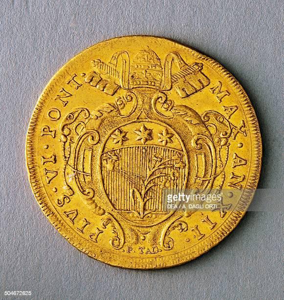 Gold 10sequin of Pope Pius VI reverse 37 mm Papal State 18th century Padova Musei Civici Eremitani Palazzo Zuckermann Museo Bottacin