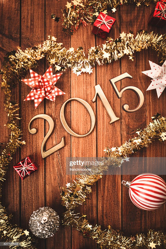 Gold 2015 New year text on christmas decoration : Stock Photo
