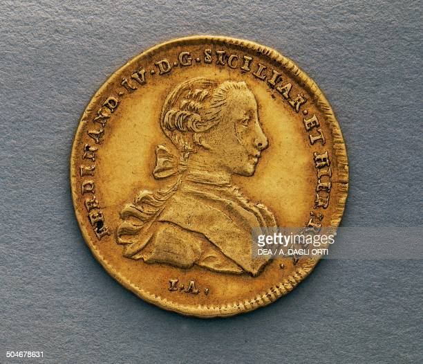 Gold 6ducat of Ferdinand IV of Naples obverse 25 mm Kingdom of Naples and Sicily 18th century Padova Musei Civici Eremitani Palazzo Zuckermann Museo...