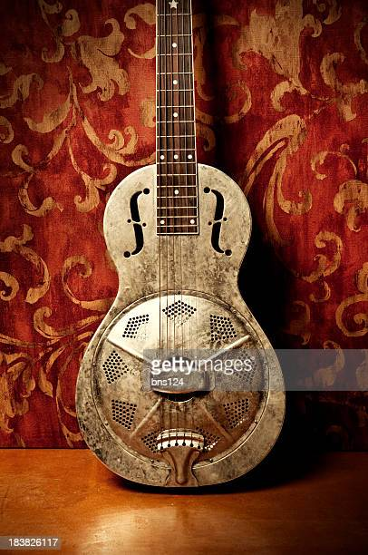 Gold acoustic guitar with red floral wallpaper