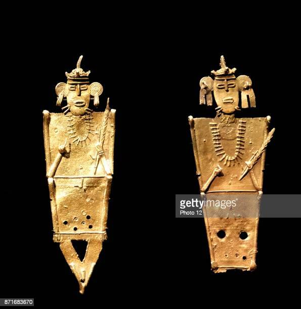 Gold alloy copper and silver votive figurines Mexican