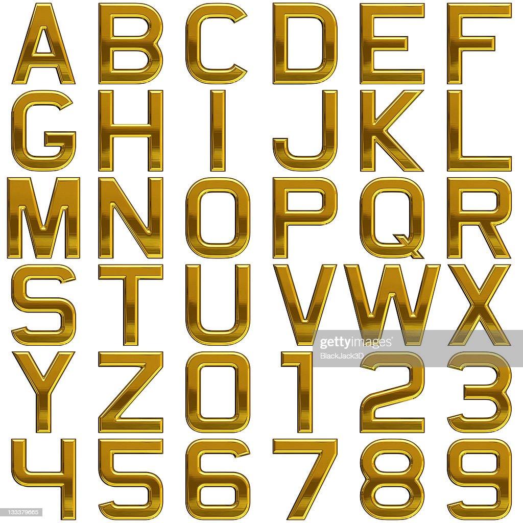 Gold alphabet (Extra Large Size!) : Stock Photo