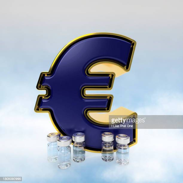 gold and blue euro symbol with vaccine filled bottles - atomic imagery stock pictures, royalty-free photos & images