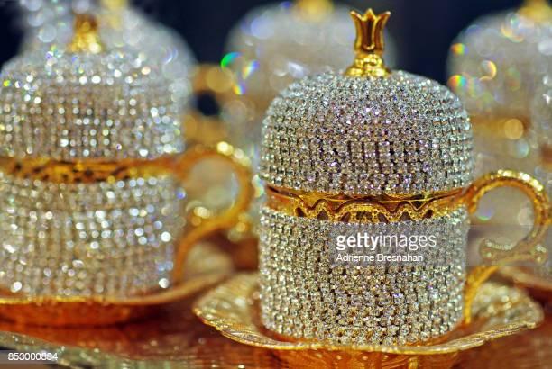 gold and rhinestone turkish tea set, close-up - rhinestone stock pictures, royalty-free photos & images