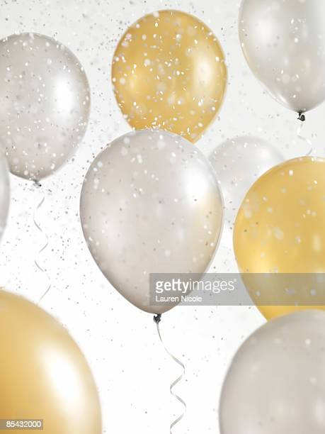 Gold and Silver Balloons with Confetti