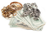 gold and silver pile scrap for cash dollar