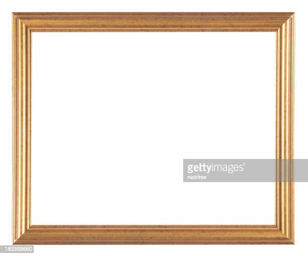 A gold antique picture frame isolated on white